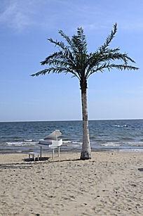 婚庆礼仪婚纱照专用布景海边椰子树和钢琴