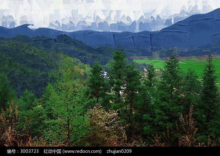 森林树木风景油画