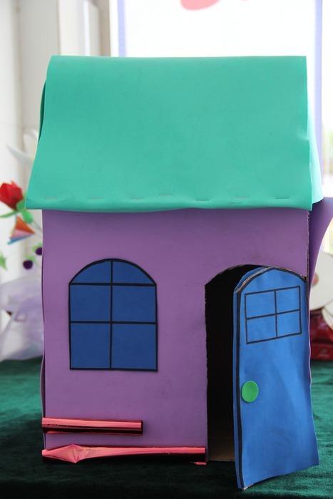 剪纸拼贴画房子