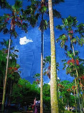 夏日椰树丛林油画