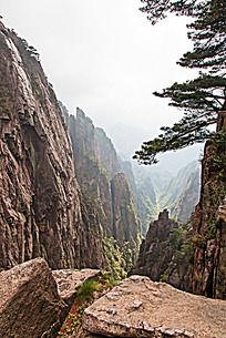 黄山春  悬崖峭壁沟壑