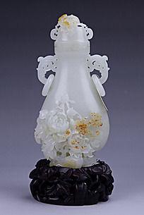 和田玉羊脂白玉玫瑰花纹双耳壶摆件商业摄影