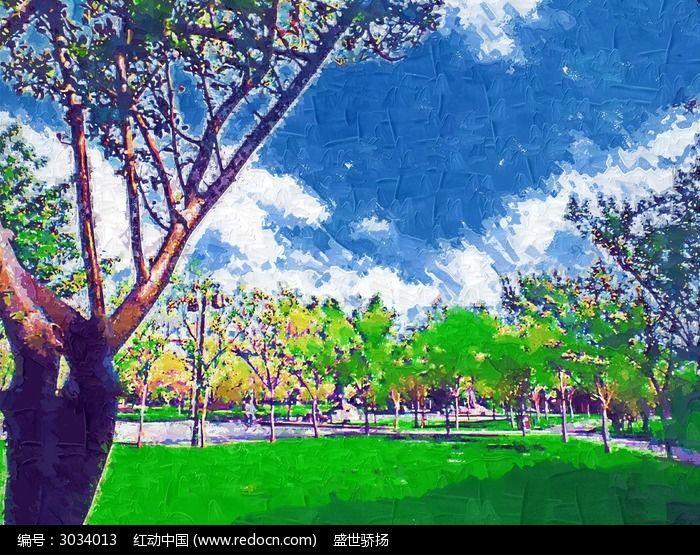 园林风景水彩画