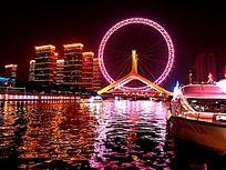 在海河游轮上拍的天津之眼摩天轮