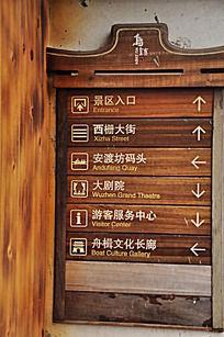 乌镇景区木头指示牌