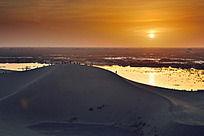 额济纳旗八道桥的大漠落日