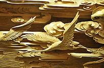 祥云仙鹤木头雕刻