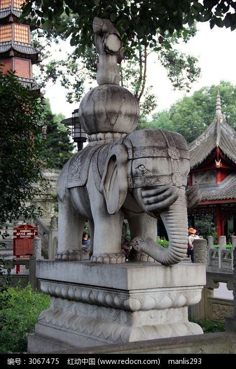 雕像里的载物大象寺庙电路石雕动物充电的v雕像图片