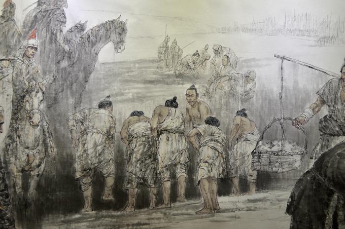 运河施工绘画图片