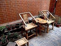 石库门的天井 竹椅