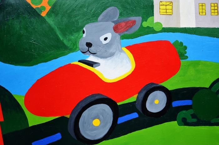小兔墙壁绘画