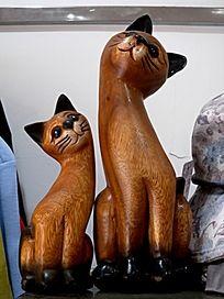 木雕 两只猫咪