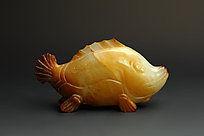 和田玉黄玉接吻鱼小摆件商业摄影