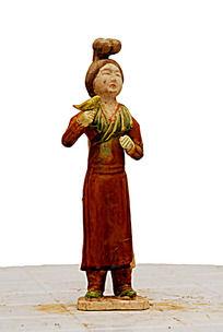 唐三彩红衣女子陶俑人物雕像