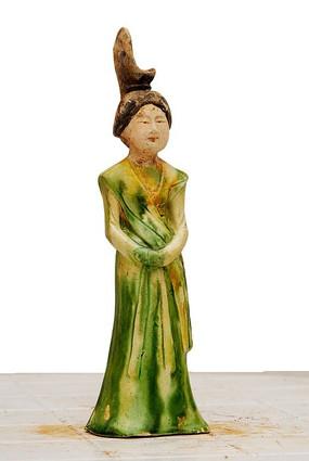唐三彩绿衣贵妇夫人陶俑人物雕像