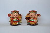 一对可爱财神爷人物陶瓷工艺品