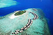 马尔代夫太阳岛俯拍风景
