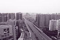 黑白摄影城市道路