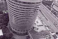 黑白摄影俯拍湖南建工集团