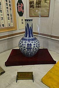 平谣文庙球型青花瓷盖罐