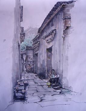 宏村小巷子手绘图