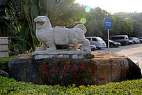 石狮雕刻园林摆件摄影