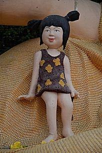 菜博会雕塑之花裙子女孩