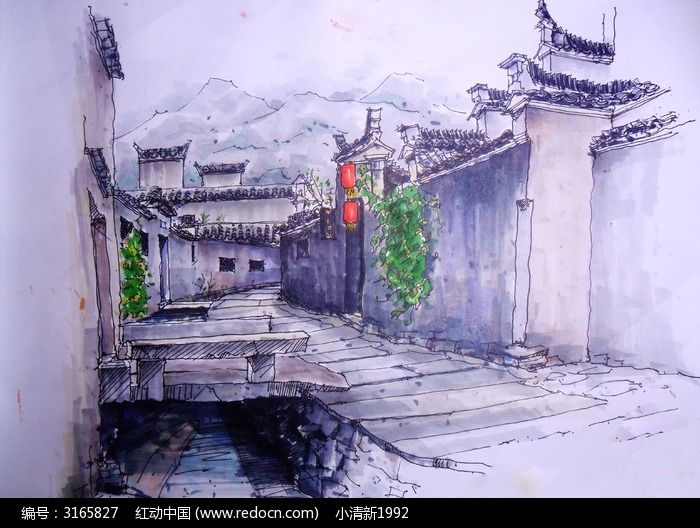 宏村手绘表现图图片,高清大图_插画绘画素材