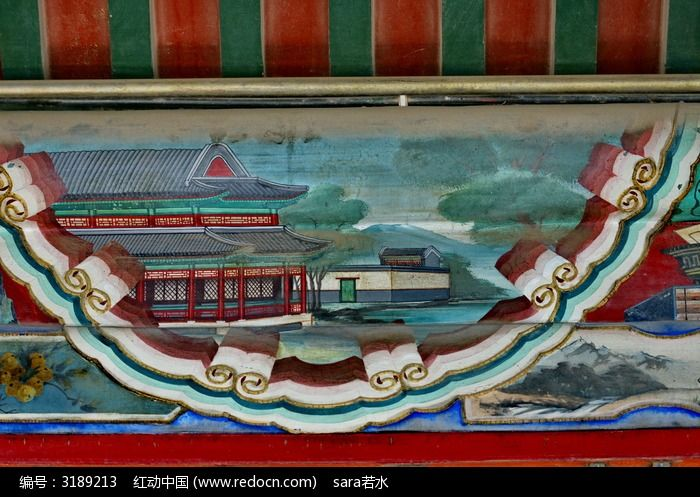北京颐和园画廊国画手绘房屋庭院祥云