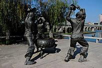 敲锣打鼓场景人物雕像