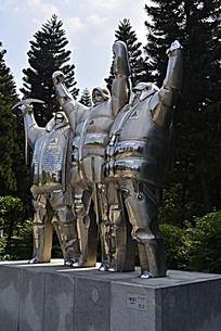 南极科考员不锈钢塑像