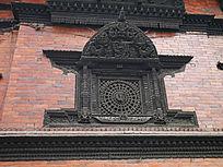 神庙窗花木雕特写