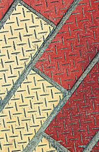 红黄色交叉的地板图案纹理