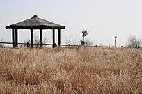云梦山顶草原上的休闲凉亭