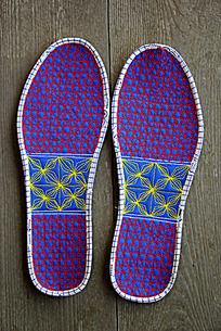 格子几何花纹刺绣鞋垫