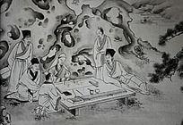 假山院子里绘画的文人画家书法家黑白水墨