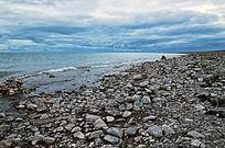 青海湖边的鹅卵石