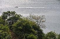 湖面上驶过的小游艇