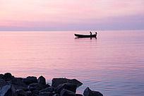 黄河入海口的渔船