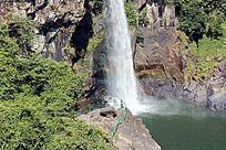仙游九鲤湖彩虹瀑布横图