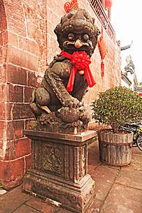 古建筑城门石狮