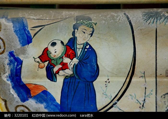 古代襁褓婴儿手绘