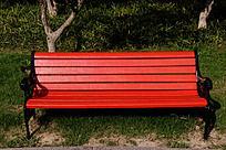 红色木条欧式公共座椅
