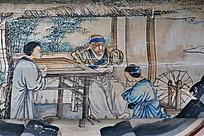 竹子草屋织布的少女和老人