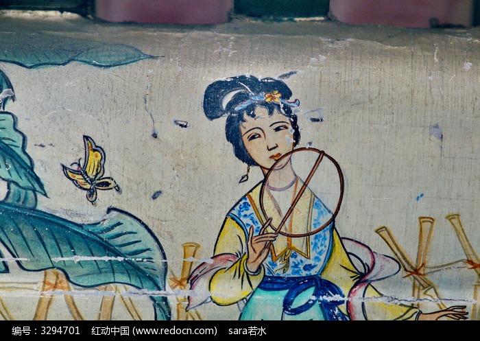 羞的林黛玉飞蝶扇子芭蕉高清图片下载 编号3294701 红动网