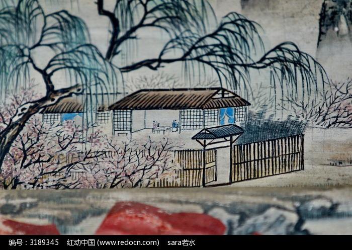 梅林梅花手绘带篱笆的房子图片