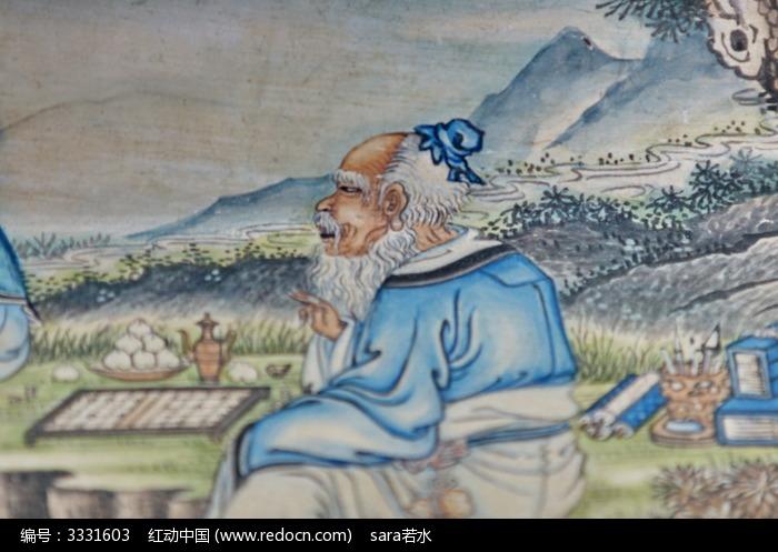 白发白眉胡子老人儒雅围棋下棋五子仙风道骨图