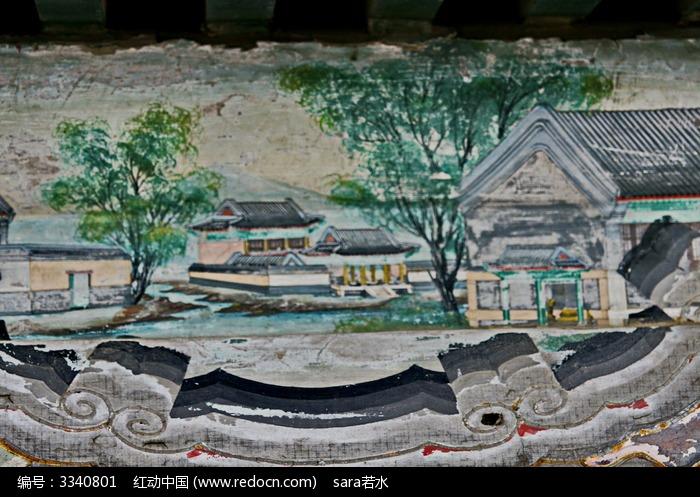 老房子大院子农村砖瓦房子图片,高清大图_古代字画素材