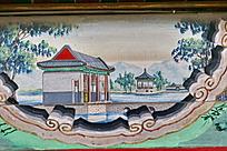 树木亭子水上房子水池