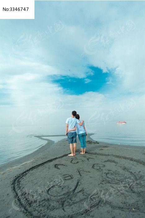 情侣 海边 恋人 心 爱情